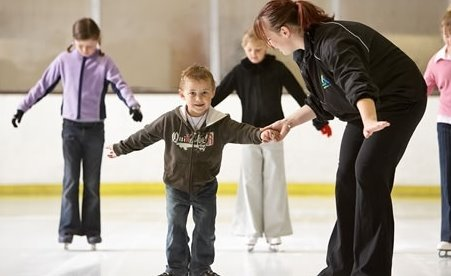 Kids learning to skate