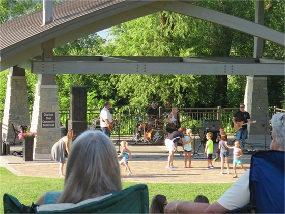 people watching concert outdoors with children dancing in front of stage