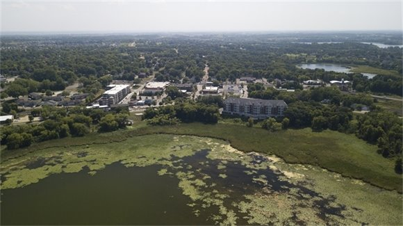 aerial view of downtown victoria from Stieger Lake