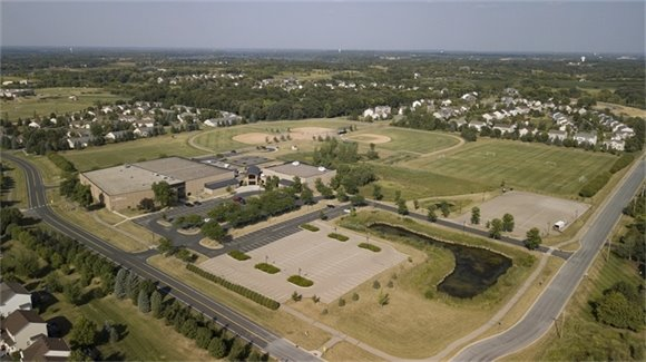 aerial view of victoria recreation center and sportsfields