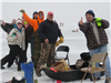 ice fishing group making funny faces