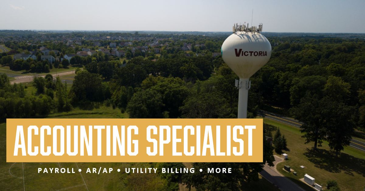 accounting specialist recruitment ad on background of city view with water tower