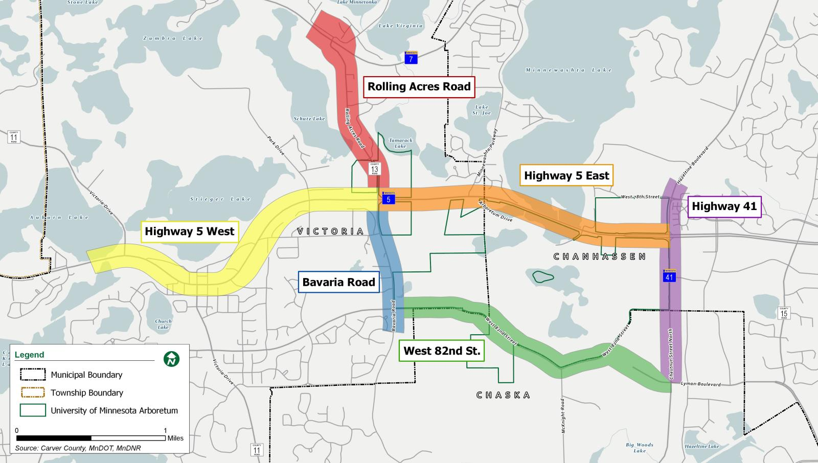 map of arboretum transporation plan projects