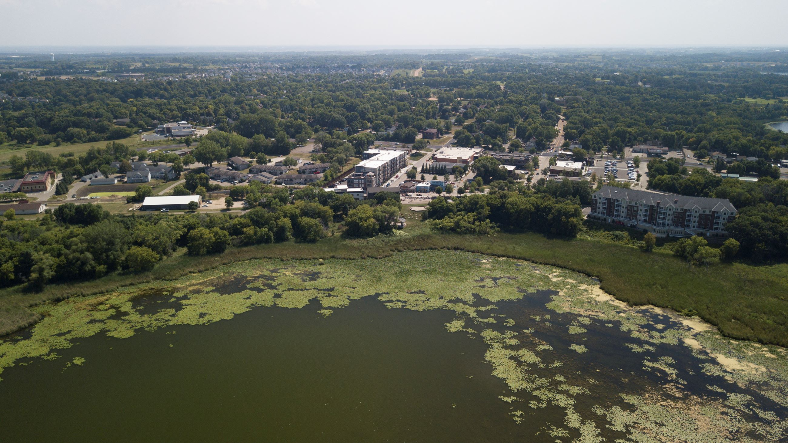 aerial view of downtown Victoria, MN and Stieger Lake
