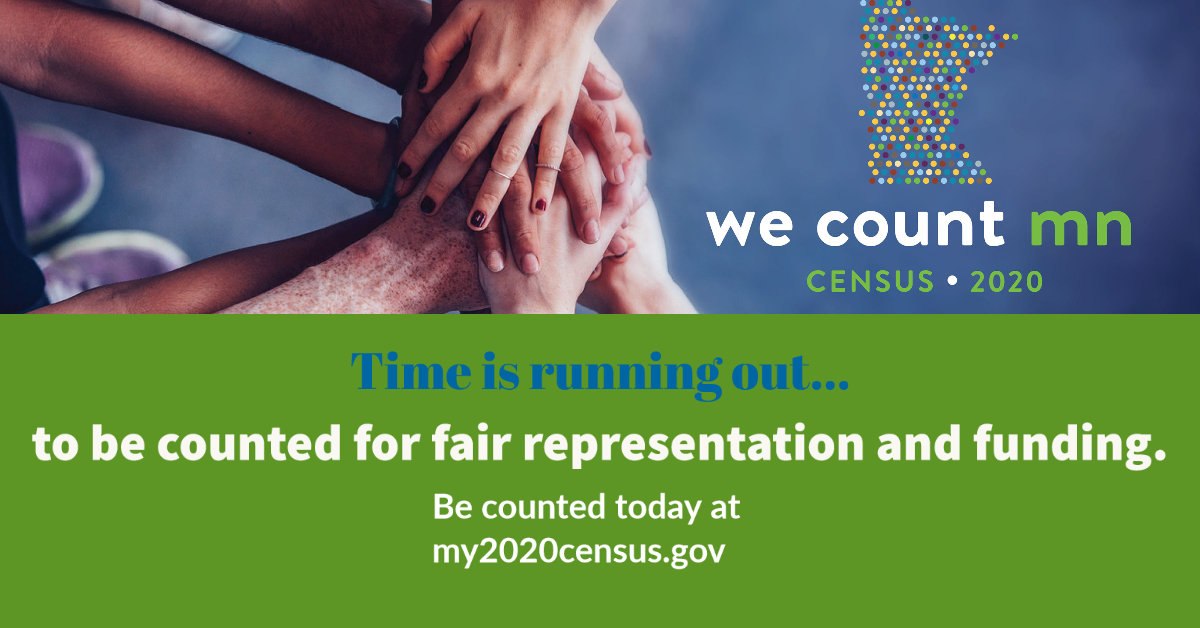 2020 CENSUS DEADLINE IS 9/30/20. Submit your census today at my2020census.gov