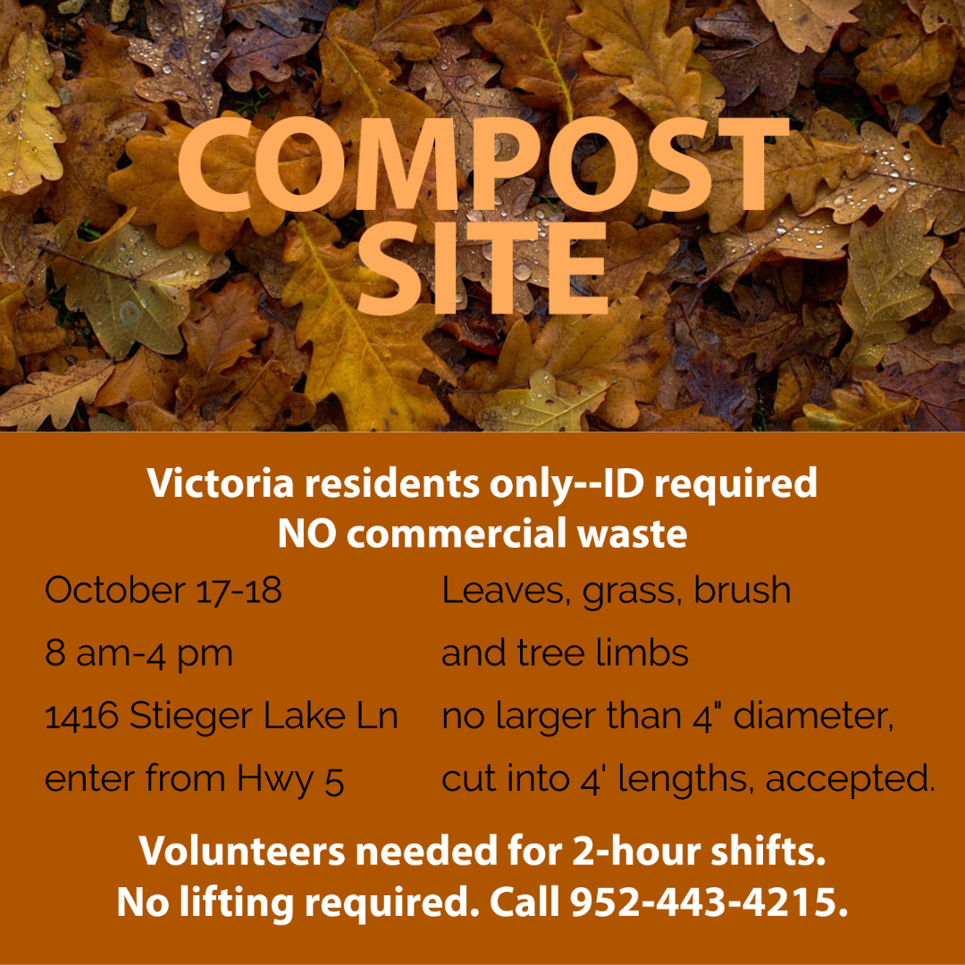 volunteers needed for fall compost event on 10/17 and 10/18. Two-hour shifts between 8 am-4 pm.