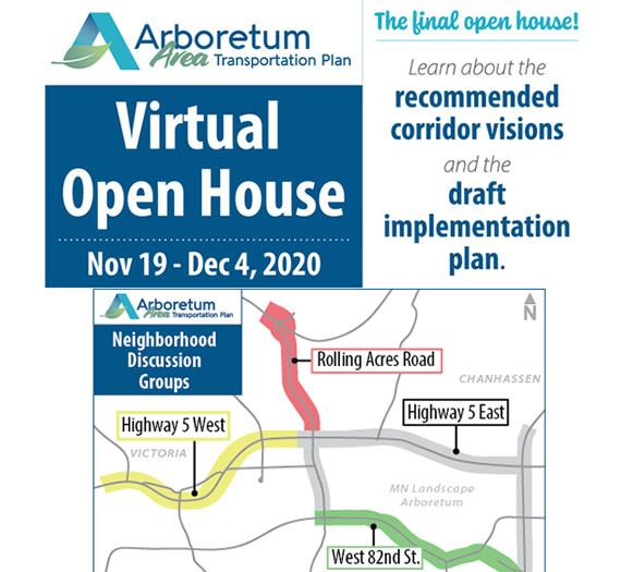 Arboretum Area Transportation Plan Virtual open house ad.