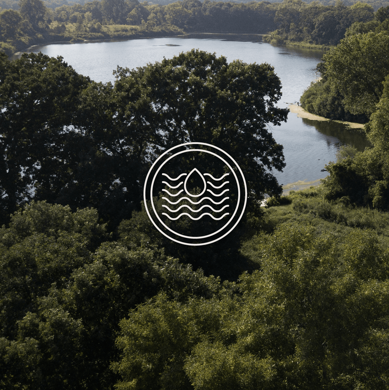 An image of a lake and trees with an icon of a water drop and waves.