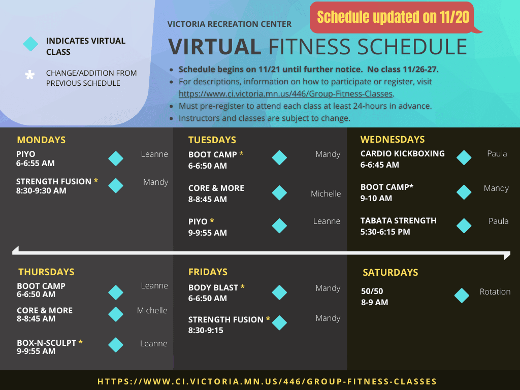 Virtual Fitness Schedule PNG