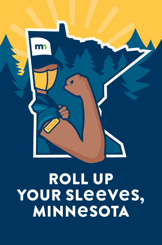Roll Up Your Sleeves, Minnesota in text with cartoon man holding out arm with bandaid on it